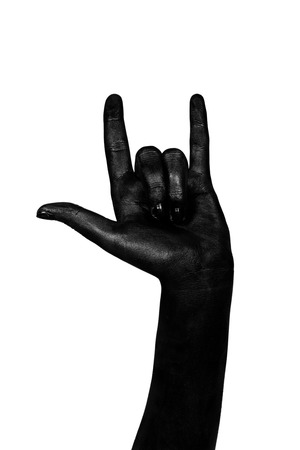grease paint: Black hand isolated on white background. The zombie apocalypse