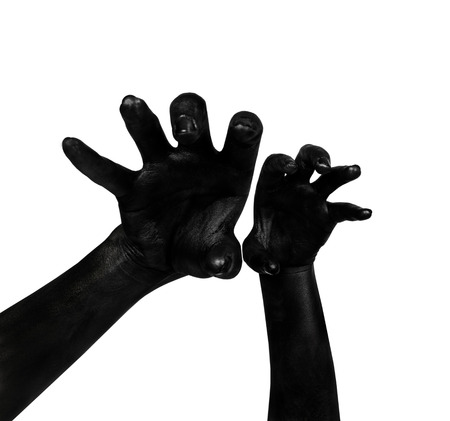 smeary: Black hand isolated on white background. The zombie apocalypse
