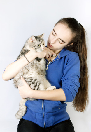 calico whiskers: pedigreed cat spotted in the hands of a teenage girl