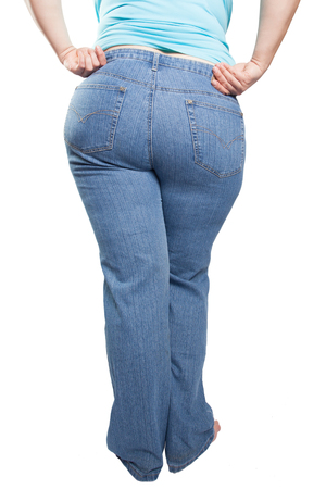 Woman in blue jeans isolated on white background from fat to thin. Diet concept. (overweight, obesity)