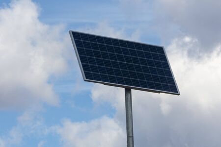 Rack mounted solar panel, an alternative source of energy. Against the background of blue sky, pure energy, electricity is generated