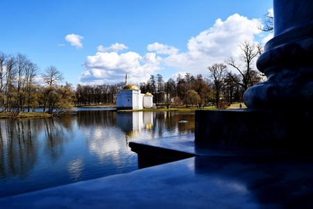 The Turkish bath at Catherine's Park in Tsarskoye Selo, a cultural monument of federal significance, is located on the banks of the Big Pond. St. Petersburg, may Editorial