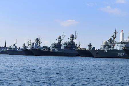 Naval ships in the bay in Kronstadt, St. Petersburg, Russia