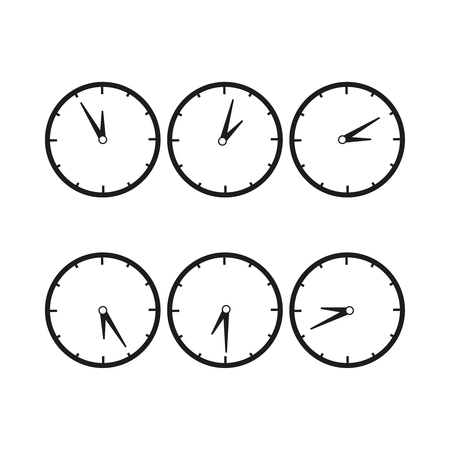 Clocks with difference time icon Illustration