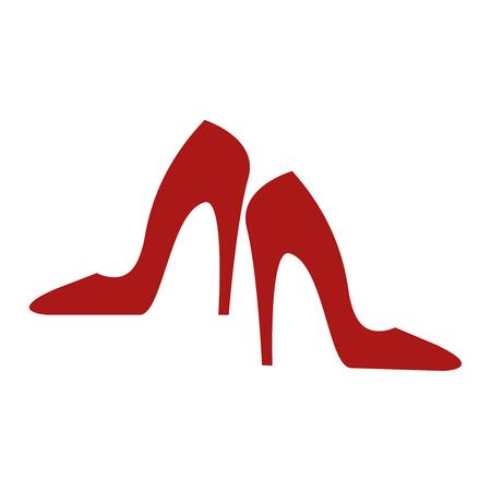 흰색 배경에 빨간색 발 뒤꿈치 아이콘 일러스트