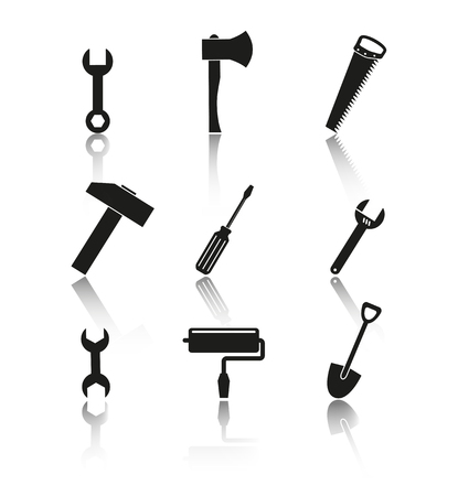 Tools of set icons on the white background