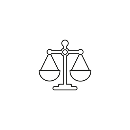 Scales balance icon on white background  イラスト・ベクター素材
