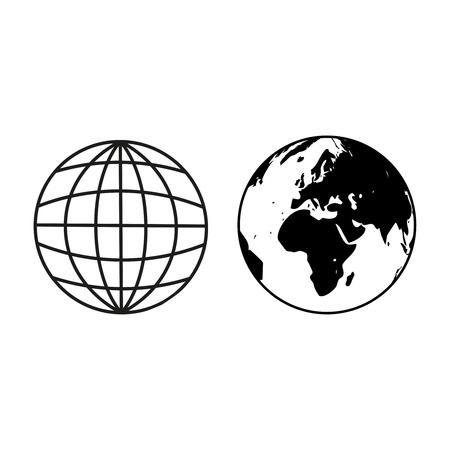 Earth globe sample icons on white background
