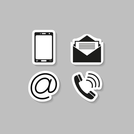 Contacts téléphone autocollant icônes vector illustration