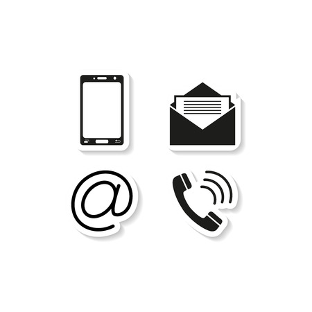 Contacts phone sticker icons on white background with phone handset, envelope. Vector illustration.
