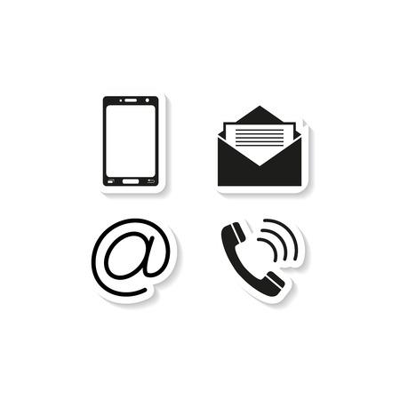 Contacts icônes autocollant de téléphone sur fond blanc avec combiné téléphonique, enveloppe. Illustration vectorielle. Vecteurs