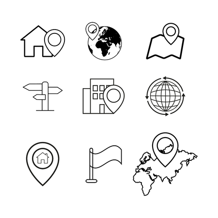 Set of novigation pinpointer icons.