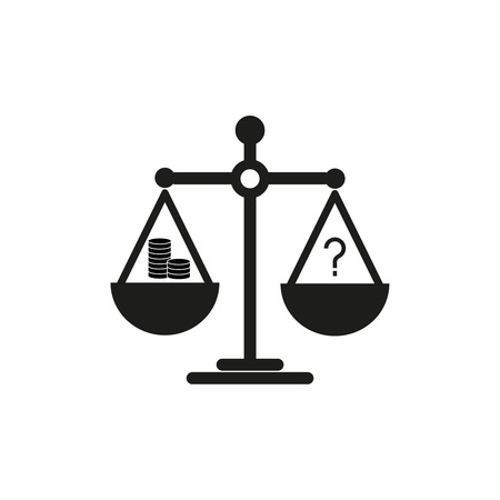 Balance on scales icon vector illustration