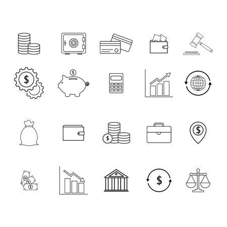 Set Online Finanzen Geld Symbole Standard-Bild - 96475616