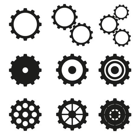 Cogwheels set icons. Stock Illustratie