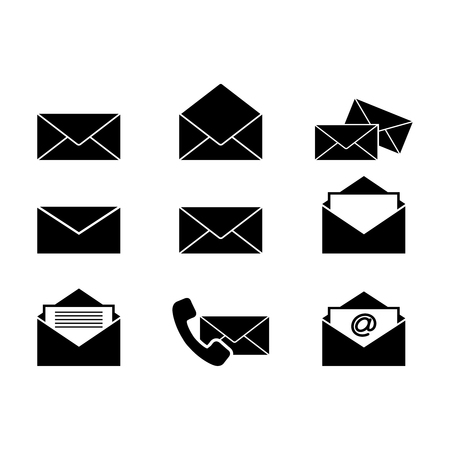 Set of envelopes letters icons Vector illustration.