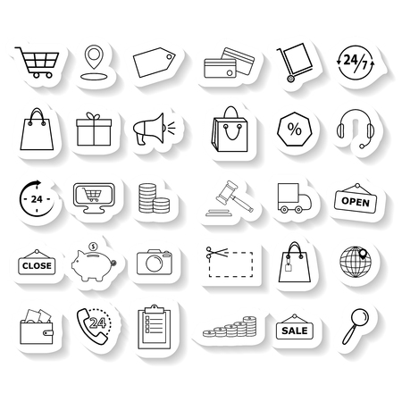 Set shopping sticker icons