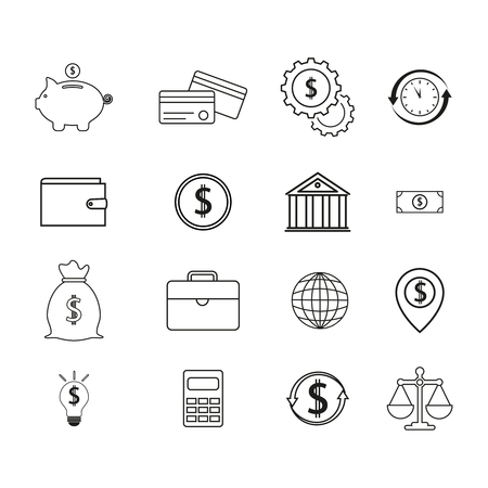 Set of finance and other related icons.