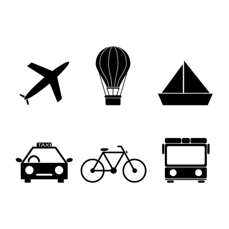 Set of travel transport icons Illustration