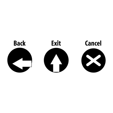 Back, exit and cancel black icons