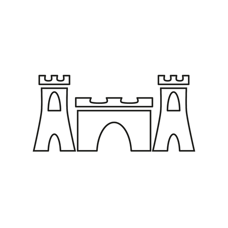 Sand castle tower icon on white background