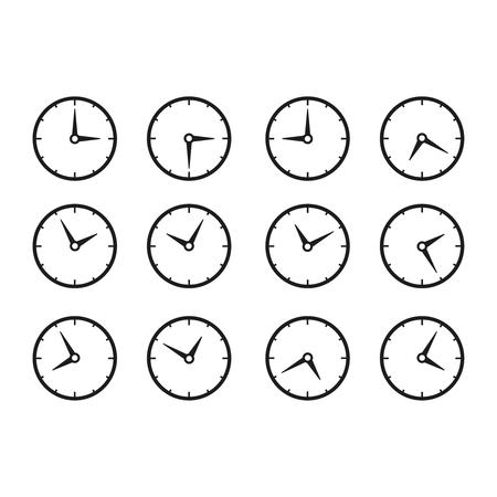 Satz Zeituhren Symbole auf weißem Hintergrund. Vektorgrafik