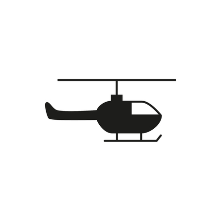 Helicopter black icon on the white backgound