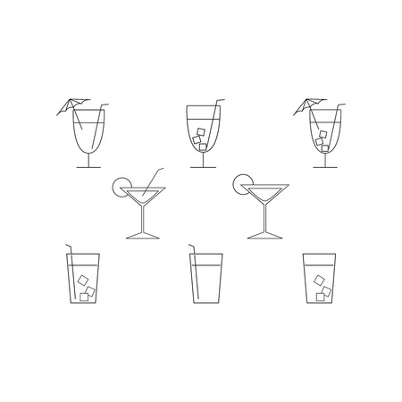 Set of cocktail drink icons on white background
