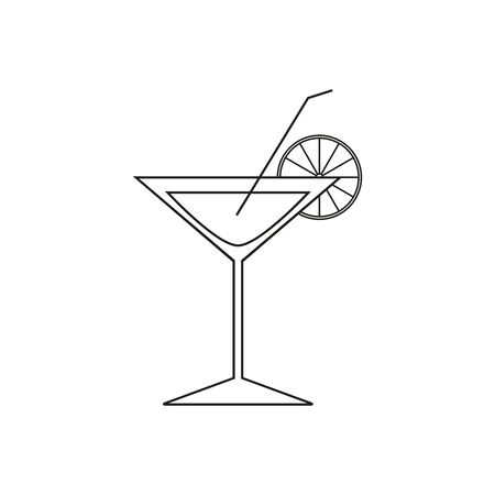 Cocktail lemon of icon on the white background