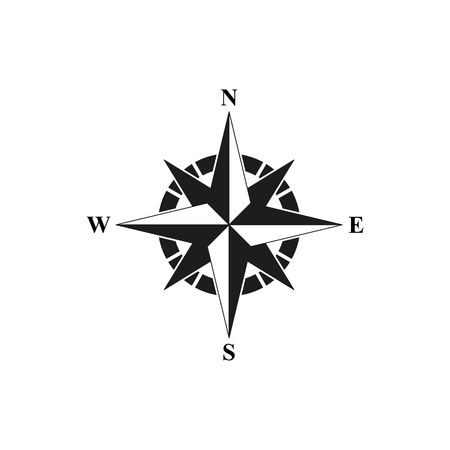 Brújula icono negro