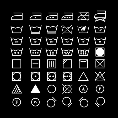 Set of laundry instruction icons