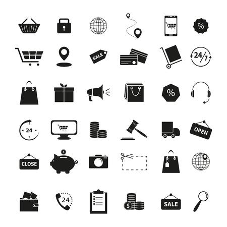 Set of shopping black icons Ilustração