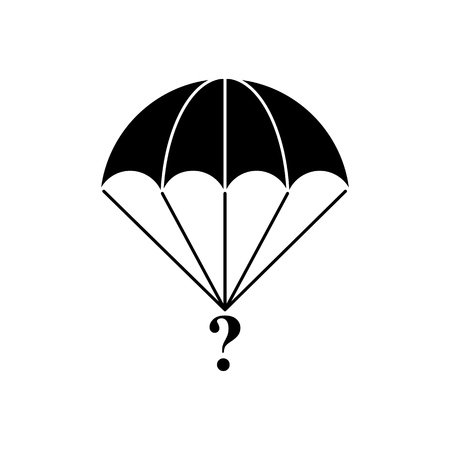 Parachute of cargo black icon