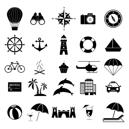 Set holiday vacation icons