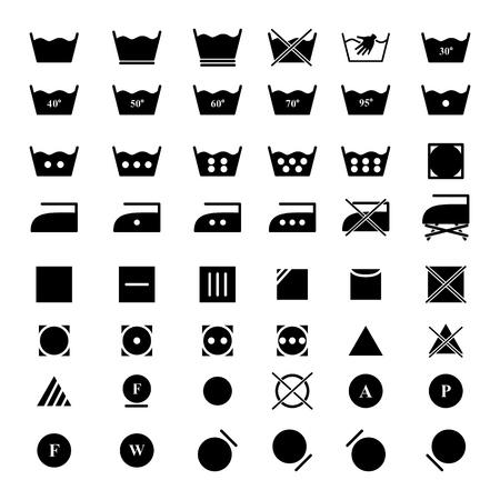 Set laundry dry icons on the white background