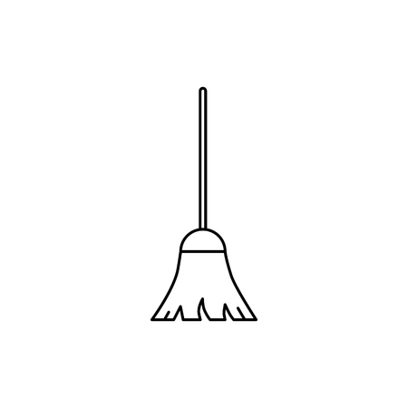 Broom of icon on the white background