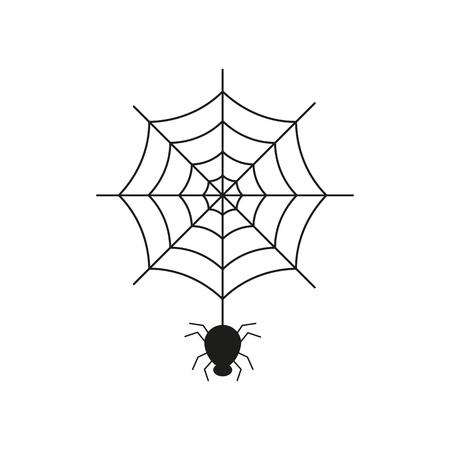 Black spider on the spider web icon helloween