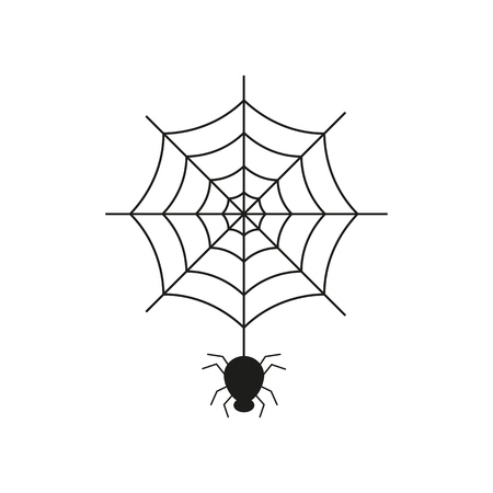 Black spider on the spider web icon helloween