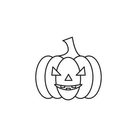 Pumpkin of icon helloween black evil on the white background Illustration