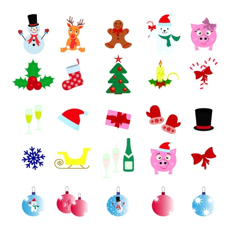 Set of Christmas 25 icons on the white background