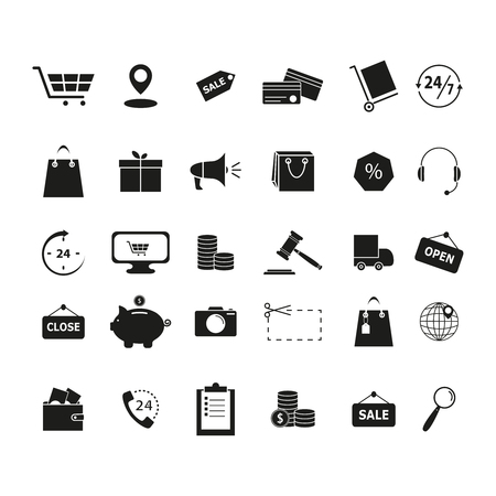 Set shopping black icons on white background Standard-Bild - 127633550
