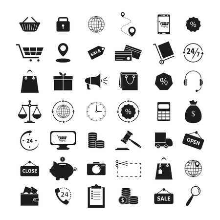 Set of shopping 42 icons on the white background