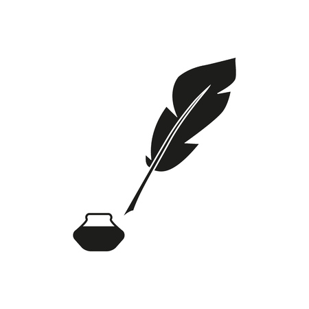 Pen feather bottle icon on the white background Imagens - 127633553