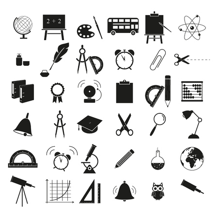 Set of back to school 36 icons on the white background