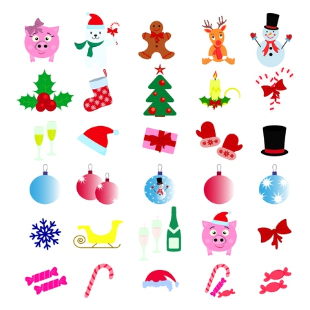 Set of Merry Christmas 30 icons Happy New Year on the white backgroud Standard-Bild - 127633555