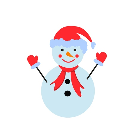 A snowman in the color icon winter person on the white background