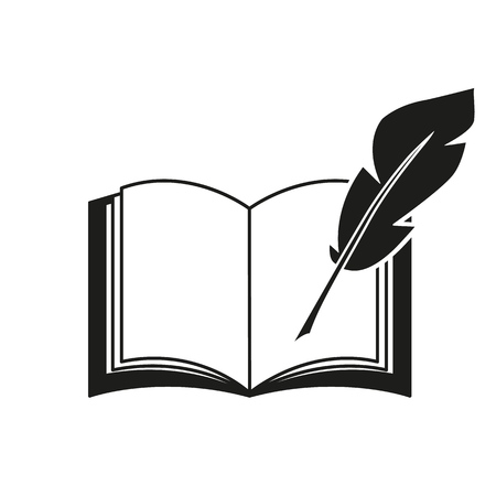 A book and a pen feather icons Imagens