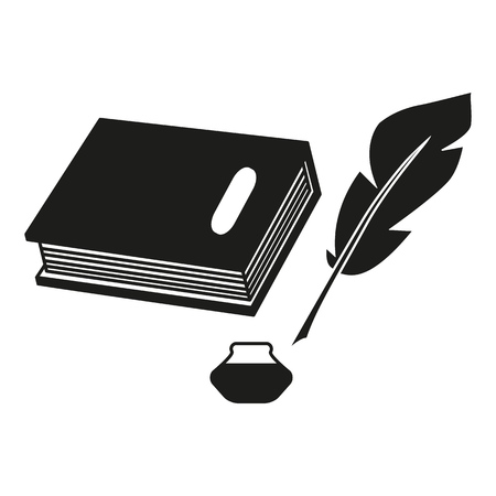 A book and a pen feather black icons on the white background Imagens - 127527814