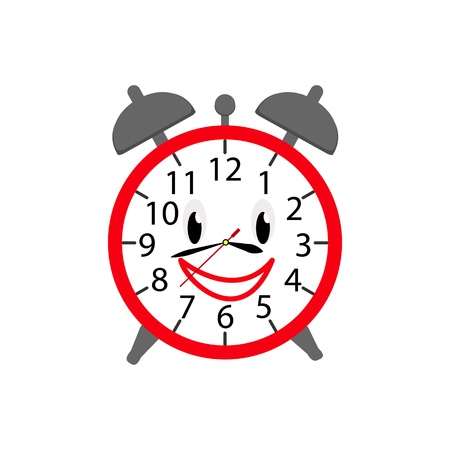 Alarm clock icon in color for children on the white background