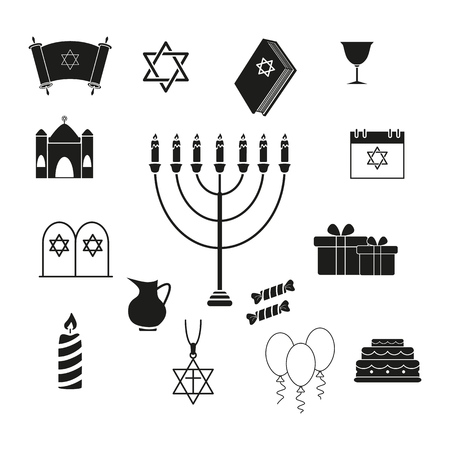 Set of Hanukkah the holiday of icons